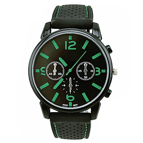 Herrenmode Edelstahl Uhr Silikon Band Armbanduhr Gruen Number