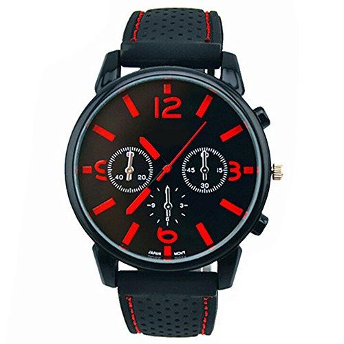 Herrenmode Edelstahl Uhr Silikon Band Armbanduhr Rot Number