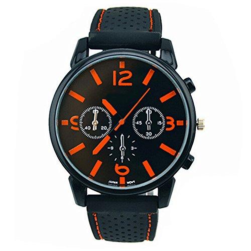 Herrenmode Edelstahl Uhr Silikon Band Armbanduhr Orange Number