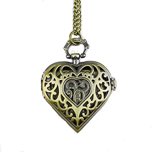Hohl herzfoermig Taschenuhr Halskette Kette fuer Damen Pocket Watch Bronzefarbe