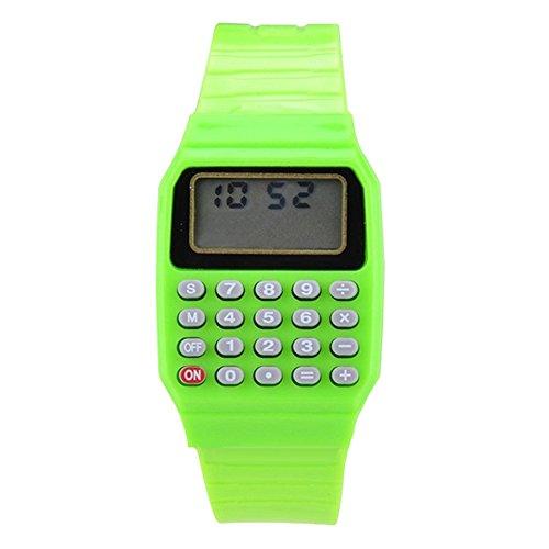 Jungen Maedchen Silikon Datumsanzeige elektronische Uhr Mulitfunktions Rechner Uhr Taschenrechner Uhr fuer Kinder Gruen