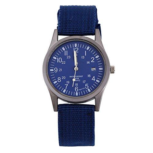 Maenner Frauen Kalender Armee Uhr Military Stricken Tuch Band Quarz Analoge Armbanduhr Blau