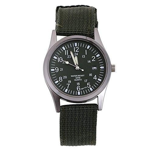 Maenner Frauen Kalender Armee Uhr Military Stricken Tuch Band Quarz Analoge Armbanduhr Gruen