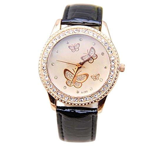 Damen Kunstleder Armband Gold Strass Schmetterling Quarzuhr Armbanduhr Mode Schwarz