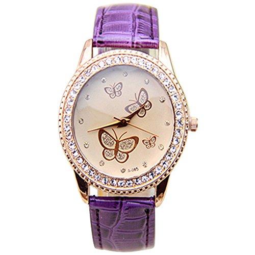 Damen Kunstleder Armband Gold Strass Schmetterling Quarzuhr Armbanduhr Mode Lila