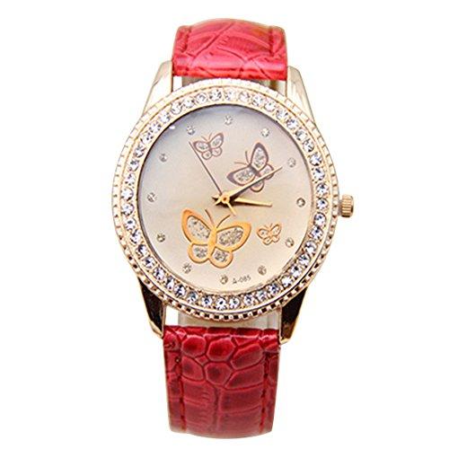 Damen Kunstleder Armband Gold Strass Schmetterling Quarzuhr Armbanduhr Mode Rot