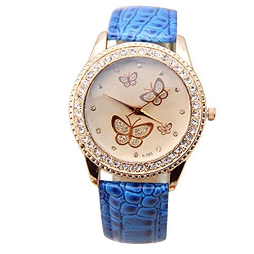 Damen Kunstleder Armband Gold Strass Schmetterling Quarzuhr Armbanduhr Mode Blau