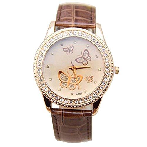 Damen Kunstleder Armband Gold Strass Schmetterling Quarzuhr Armbanduhr Mode Kaffee