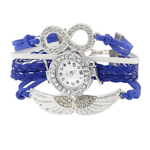 Damen Charme Strass Design Kunstleder Engelsfluegel Armreif Armbanduhr Saphirblau