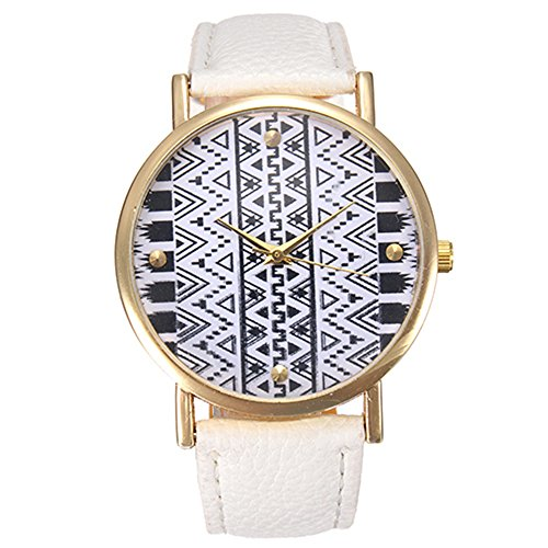 Retro Damen Kunstlederuhr Geometrie Wellenmust Design Quarz Kleid Armbanduhr Weiss