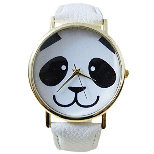 Maedchen einfach mode laechelndes Pandamuster Uhr mit rundem Zifferblatt Kunstleder Band Weiss