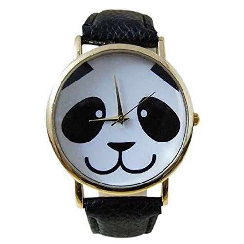 Maedchen einfach mode laechelndes Pandamuster Uhr mit rundem Zifferblatt Kunstleder Band Analog Armbanduhr Schwarz