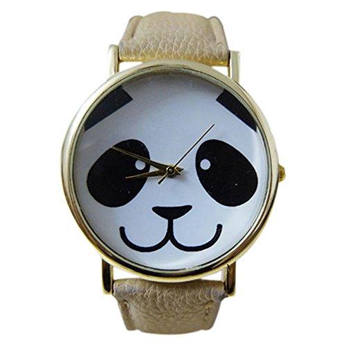 Maedchen einfach mode laechelndes Pandamuster Uhr mit rundem Zifferblatt Kunstleder Band Cremefarbig