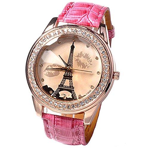 Damen Maedchen champagnerfarben Dial Lovers Lippen Eiffelturm Armbanduhr Pfirsichfarbe