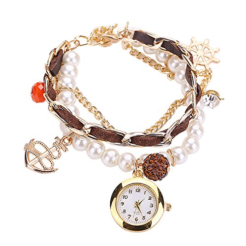 Maedchen Frauen Mehrschichten Multilayers Perlen Uhr Kunstleder Strassstein Elegant Armband Quarz Uhr Kaffee