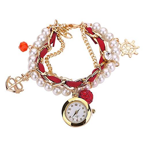 Maedchen Frauen Mehrschichten Multilayers Perlen Uhr Kunstleder Strassstein Elegant Armband Quarz Uhr Rot