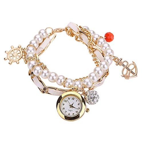 Maedchen Frauen Mehrschichten Multilayers Perlen Uhr Kunstleder Strassstein Elegant Armband Quarz Uhr Weiss