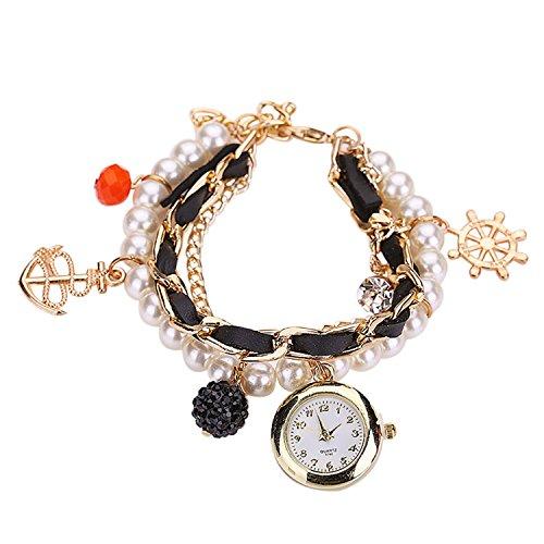 Maedchen Frauen Mehrschichten Multilayers Perlen Uhr Kunstleder Strassstein Elegant Armband Quarz Uhr Schwarz