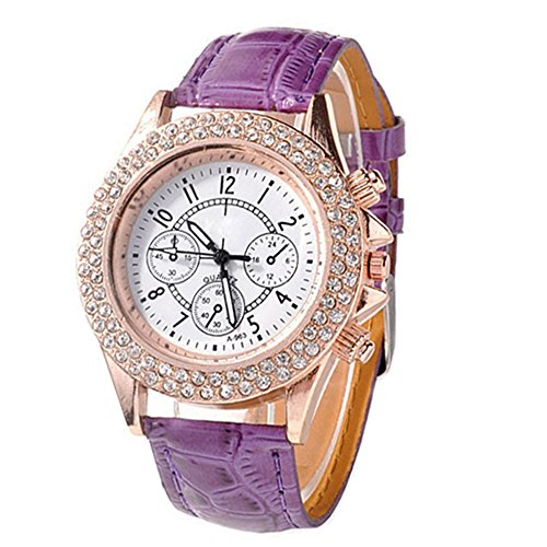 Damen Maedchen Strass Racing Stil Analog Quarz PU Leder Armbanduhr Watch Lila