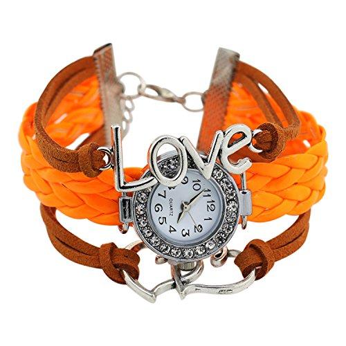 Maedchen Stricken Kunstleder Band Liebes Herz Charment Glass Armbanduhr Orange