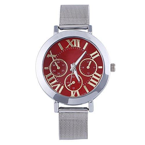 Maenner Frauen Roman Silber Netzband Analog Quarz Armbanduhr Rot
