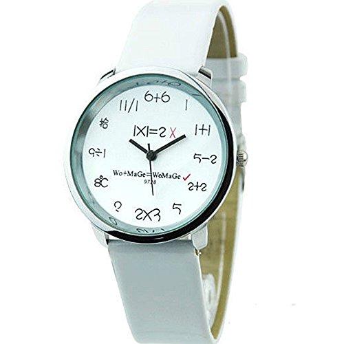 Mathematik Dial Quartz Fashion Armbanduhr Weiss