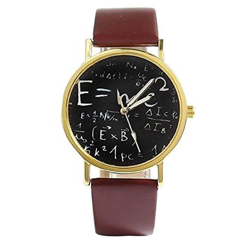 Unisex Uhr Herren Damen Nummer Zaehlen Mathematisches Zeichen Symbol Kunstleder Armband Quarzuhr Uhr Braun