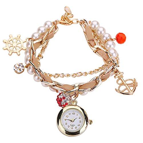 Maedchen Frauen Mehrschichten Multilayers Perlen Uhr Kunstleder Strassstein Elegant Armband Quarz Uhr cremefarbig