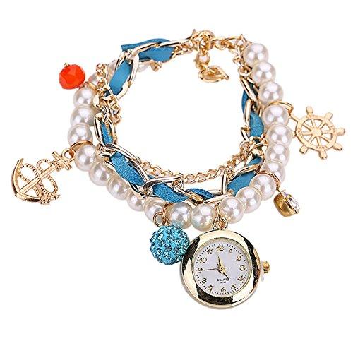 Maedchen Frauen Mehrschichten Multilayers Perlen Uhr Kunstleder Strassstein Elegant Armband Quarz Uhr Himmelblau