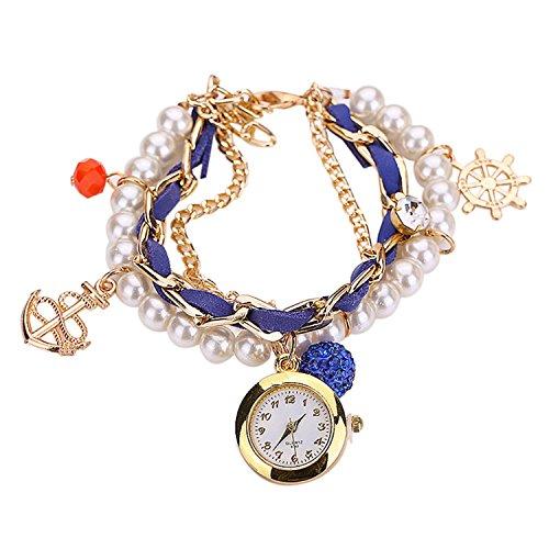 Maedchen Frauen Mehrschichten Multilayers Perlen Uhr Kunstleder Strassstein Elegant Armband Quarz Uhr Koenigsblau