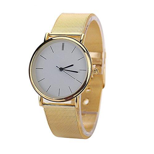 Mode Herren Analog mit Rund Gehaeuse Gold Netzband Legierung Armbanduhr Trend fuer Paar