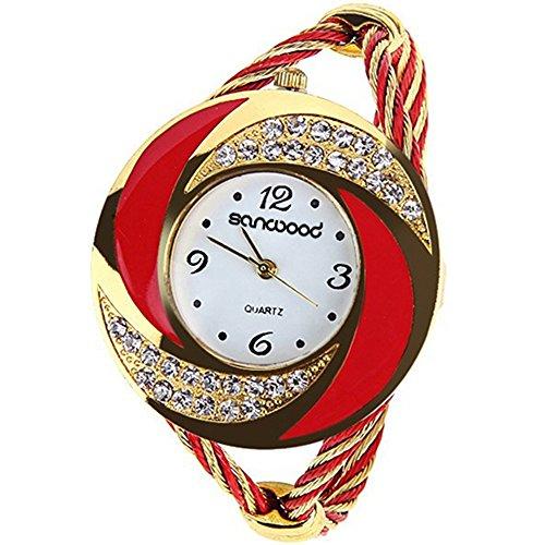 Modern Damen Round Strass Armband Stulpe Analog Quarz Armbanduhr Uhr Rot