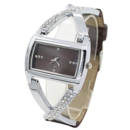 Moderne Analog Quarz Strass Uhr Armbanduhr Braun