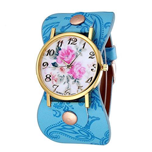 Damen schoene Pfingstrose Blumen Weitkunstleder Armband Armbanduhr Quarz Hellblau