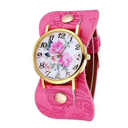 Damen schoene Pfingstrose Blumen Weitkunstleder Armband Armbanduhr Quarz Rosarot