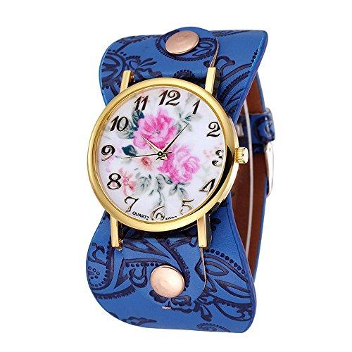 Damen schoene Pfingstrose Blumen Weitkunstleder Armband Armbanduhr Quarz Saphirblau