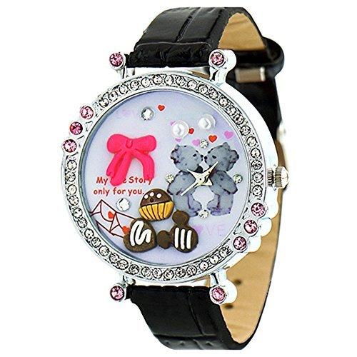 Polymer Clay Strass Damen Quartz Uhr Armbanduhr Kunstlederband Schwarz