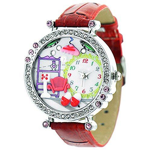Polymer Clay Strass Damen Quartz Uhr Armbanduhr Kunstlederband Rot