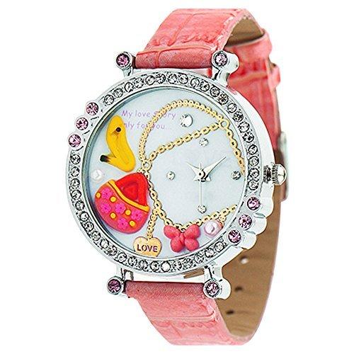 Polymer Clay Strass Damen Quartz Uhr Armbanduhr Kunstlederband Rosa