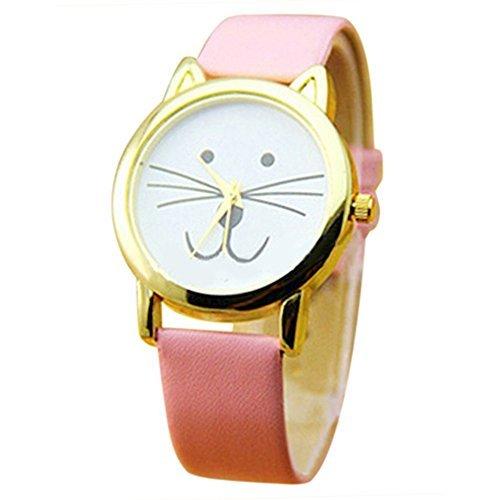 Reizende nette Katze Gesichtsform Maedchen Zifferblatt Gold Alloy Rim Beard Faux Leder Uhr Armbanduhr Rosa