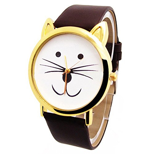 Reizende nette Katze Gesichtsform Maedchen Zifferblatt Gold Alloy Rim Beard Faux Leder Uhr Armbanduhr Kaffeebraun