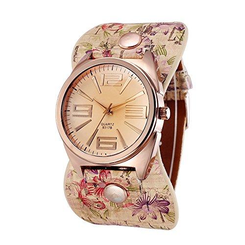 Damen Rosegold Blumen Kunstleder Weitband Analog Quarz Armbanduhr Mode 2