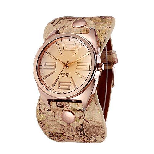 Damen Rosegold Blumen Kunstleder Weitband Analog Quarz Armbanduhr Mode 4