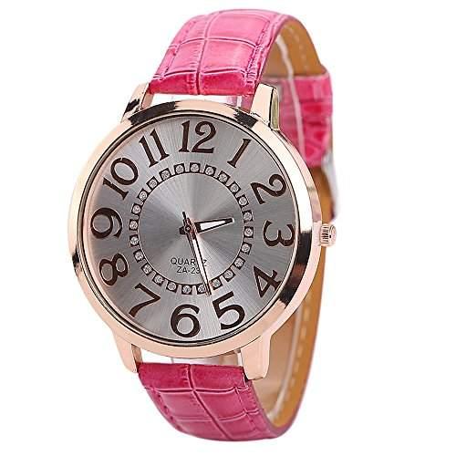 Sanwood Damen Armbanduhr Uhr Big Ziffern Gehaeuse Watch Rosarot