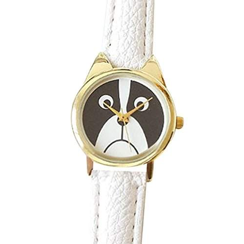 Modisch Maedchen Suesse Uhr mit Welpen Gesicht Zifferblatt und Kunstleder Armband Quarz Analog Uhr Weiss