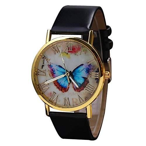 Retro Damenuhr mit Schmetterling Zifferblatt, rundem Gehaeuse und Kunstlederuhr Quarz Analog Kleid Armbanduhr kreativ Schwarz