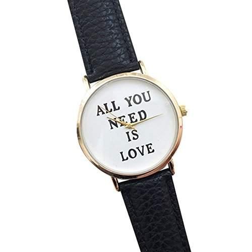 Einfach Unisex Uhr mit ALL YOU NEED IS LOVE fuer Maenner und Frauen Mode Kunstleder Zifferblatt Uhr Quarz Analog Armbanduhr Schwarz