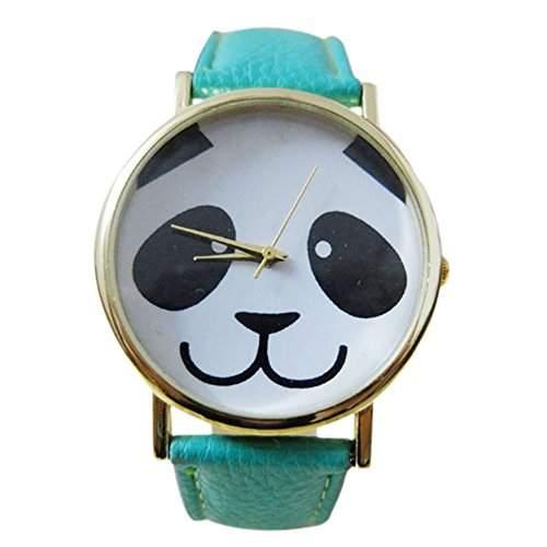 Maedchen einfach mode laechelndes Pandamuster Uhr mit rundem Zifferblatt Kunstleder Band Analog Armbanduhr Minzgruen