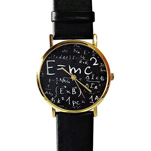 Unisex Uhr Herren Damen Nummer Zaehlen Mathematisches Zeichen Symbol Kunstleder Armband Quarzuhr Uhr Schwarz