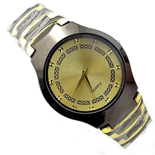 Geschaeft Herren Uhr Edelstahl Band Quarzuhr Rundes Gehaeuse Analog Armbanduhr Gold